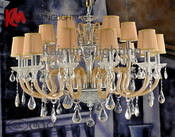 Free shipping  2013 amber crystal chandeliers lighting with fabric lamp shades for Living Room Hotel Hall  KM6027-12+6