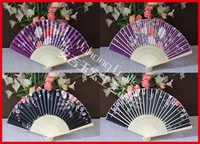 500pcs/lot free shipping assorted flower designs Chinese bamboo hand fan high quality as business gift