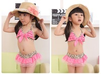 2013 newest leopard print 3-7 year 3  suit girl bikini,Children's swimsuit,kid swimsuit,baby  swimwear,5 pcs/1lots wholesales