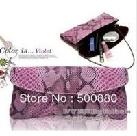 Hot Fashion Women's Purse Shoulder Clutch Snakeskin PU Leather Evening Bag 3 Colors