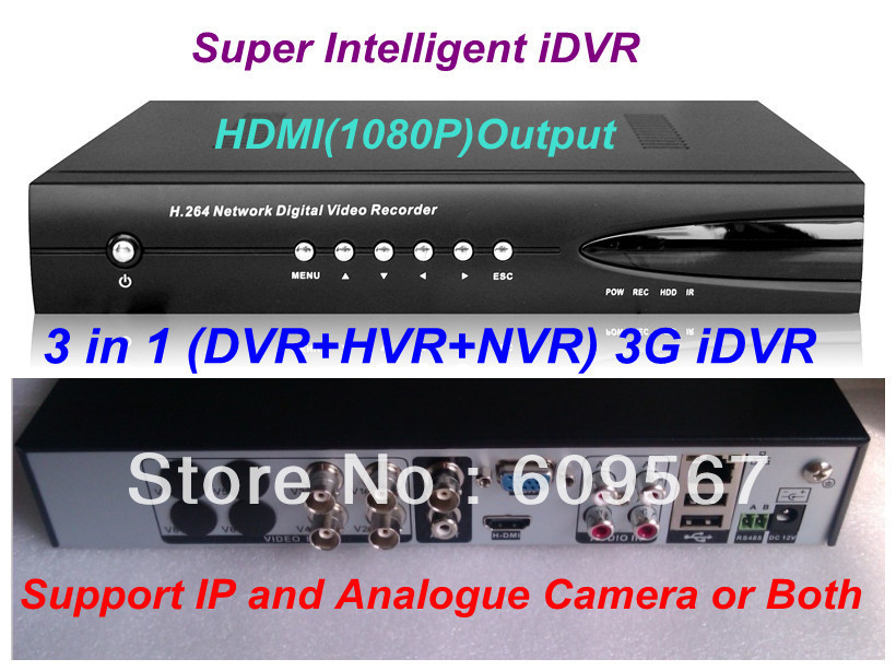 4CH Full 960H Super CCTV DVR+HVR+NVR 3 in 1 Intelligent 3G WIFI Security System with HDMI 1080P Output ,Cloud Tech and ONVIF(China (Mainland))