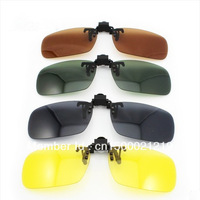 Free Shipping 4 colors/lot 2013 Promotion Polarized Clip On Sunglasses for Myopia Fishing Driving for Day/Night use