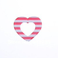Free shipping!  Newest! 100pcs 32mm  Resin Red &White stripe Heart  Pendant   Love's Gift  Jewelry  Pendants