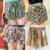 Women Ladies Casual Shorts Vintage Decorative Pattern Elastic Waist Chiffon With Belt #L034795
