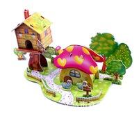 Freeshipping  ZILIPOO 3D Puzzle  Fairy  Tales  Toy/ Mushroom House, Children's Hold Creative DIY Handmade Paper Model Jigsaw 353