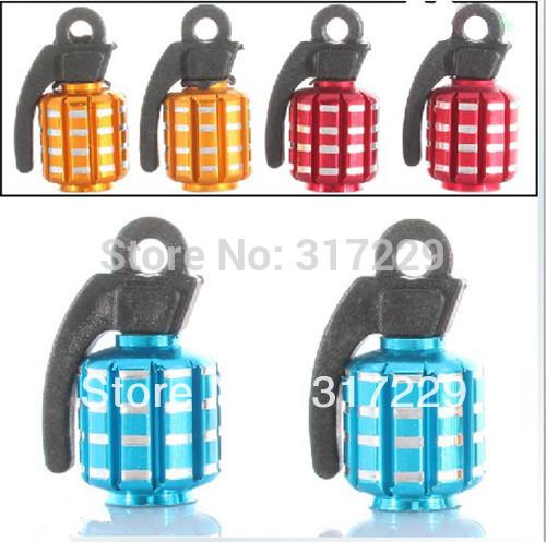 New 8Pcs Metal Grenade Design Motorcycle Car Bike Tire Tyre Air Valve Dust Caps 4 Colors(China (Mainland))
