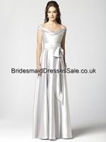 Free Shipping DHL/UPS A-line Off-the-shoulder Satin Silver Floor-length Long Bridesmaid Dress For Sash Under 150(BM0100011)