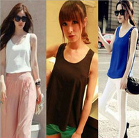 Free Shipping New  Sleeveless Chiffon Vest Base Top Loose Comfortable Chiffon Vest
