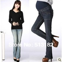 womens maternity pregnant elastic waistband jeans pants trousers bottoms/Maternity abdominal pants/pregnant clothes/blue/M-XXL