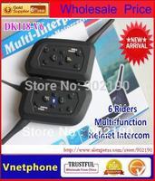 2Pcs/lot intercom  Motorcycle headphone  Helmet headsets Bluetooth interphone Intercom handphone earphone for 6 Riders 1200m
