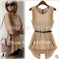 With Belt! Korean Women Summer New Fashion Chiffon Dress False Two Waist Mini Chiffon Shirt Nude+Black Free Shipping