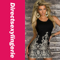 2013 New Women Clothes Chic Gold Embroidered Lace Tank Dress Black Peplum Dress Party Dress Fashion OL Dress LC2784(China (Mainland))