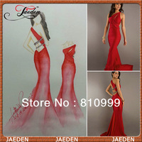 Stock 42 Hot Red One-shoulder Real Pictures Sexy Long Evening Dress