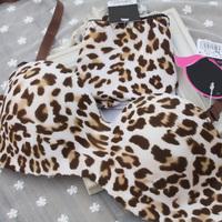 Leopard print one piece seamless push up bra set women's underwear set wholesale retail size:32-36