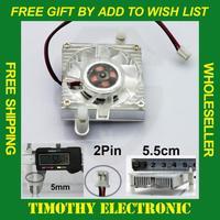 HOT SALE FREE SHIPPING 55mm 2 Pin Cooling Fan Heatsink Cooler for PC Computer Laptop CPU VGA Video Card  1PC