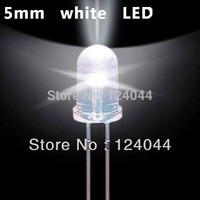 100pcs 5mm White LED Lamp Light Emitting Diode cool White13000-15000K free shipping