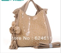 Promotion!Special Offer New 2013 Women Bags[GENUINE LEATHER+ Microfibre]Restore Shoulder Bags Tassel Handbag Free Shipping