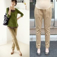 On sale Fleece thickening career maternity pants 2012 new, Winter pregnant women trousers, Black & Khaki, free shipping N