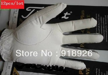 Free Shipping L@@K Nice Brand Material All Genuine Cabretta Leather Golf Gloves for Men 12pcs/lot Should Pick up Size!