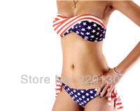 NEW Summer Women Hot Sexy STARS and STRIPES USA Flag bikini padded twisted bandeau tube BIKINI AMERICAN -free shipping