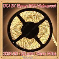 Freeshipping! DC12V 5M/Lot 3528 SMD 120Led/m 600 Leds Epoxy Resin IP65 Waterproof Flexible LED Strip Light Warm White color