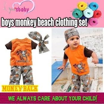 Free shipping!retail boys monkey beach clothing set babys headband t-shirt pant summer orange tees hair band gray short suits