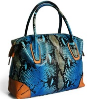 100% Genuine Leather Tote Bags 2015 European Fashion Snake Pattern Women leather handbags brand Women messenger bags Woman bag
