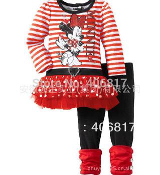 Big Promotion 2014 New Arrival O-neck Long Sleeves Striped Minnie Mouse Mini tutu Skirt One Set+Long Pants Leggings Girls Suit