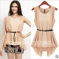 Free shipping Irregular avant-garde fashion blouse + belt women blouse dress retail/wholesale