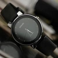 brand watches SINOBI Fashion Black Leather Strap  Top Brand Quartz Analogue Watch Men & Women Wrist Watch free shipping