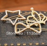 20pcs/lot Free shipping HA0247 star bowknot crown shape adult girls women female alloy pearl hair clips
