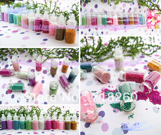 6Set/Lot Wholesale Caviar Nail Art Bottle Set The Adornment Novelty Items Beauty Tiny Circle Bead Decoration Free Shipping(China (Mainland))