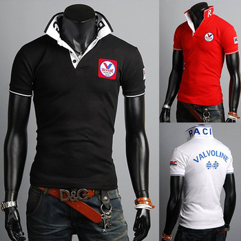 2014 Free Shipping Summer new wild Slim men's casual fashion short-sleeved polo shirt men collar embroidered design men shirts