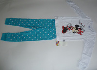 HOT SALE! Free shipping 6 sets/lot girl's Minnie home clothes & sleep wear, white long sleeve t shirt + polka dots blue trousers