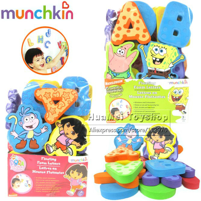 Freeshipping! New Baby Bath Toys ,Munchkin Swimming Toys 26 Letter & 2 Characters Stickers EVA Foam Letter 1set/lot(China (Mainland))