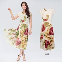 free shipping dresses new fashion  2014 brand women clothing  autumn one piece short sleeve long print dress elegant dresses
