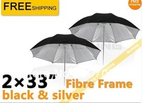 "2 x 33"" Black/White Reflective Photo Video Studio Umbrella For Flash Lighting for  Photo Studio Accessories"