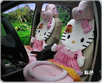 12pcs- hello Kitty car seat cushion cute plush cushions-pink-cartoon car seat covers