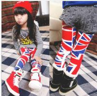 Free shipping 5pcs/lot  baby girls fashion flag leggings kids cotton skinny pants