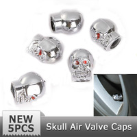 Free Shipping 5pcs/LOT Silver Cool Skull Style Bike Car Auto Bicycle Motorcycle Tire Tyre Valve Dust Cap Cover