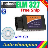 freeshipping !!! ELM327 V1.5 best Bluetooth ELM 327 OBDII OBD-II OBD2 Protocols Auto Diagnostic Scanner Tool free shipping