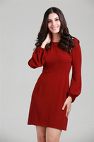 2013 New Fashion Autumn Free shipping One-piece dress City lady's dress for Woman Girl Spring Red color Y0095
