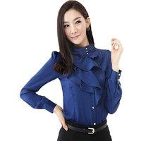 2013 Spring Autumn Korean version OL Slim fashion shirt collar flounced long-sleeved blouse brand designer for women 803
