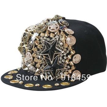 Promotion Free shipping Pentagram buttons five star Black PUNK Hiphop baseball snapback Rivet Spike studded Dance Cap hats