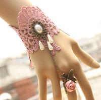 Newest arrival Vintage lace bracelet Elegant wedding jewelry pearl flower lace charm bangle bridal lace jewelry B50