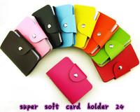 Suede leather brief gentlewomen 24 place card hasp bank card bag  bank card  holder