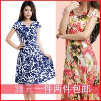 2014 NEW arrival slim dress women's short-sleeve V-neck dresses new fashion 2014 summer