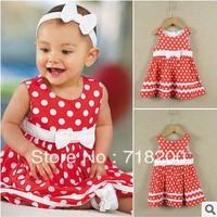 Hot sale 2013 summer baby girls dot dress with bow double pcs cotton girls summer dress casual girls dress kids dress 2A-6A