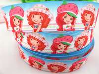 2013 new arrival 7/8''  22mm strawberry shortcake printed grosgrain ribbon strawberry ribbon 10 yards