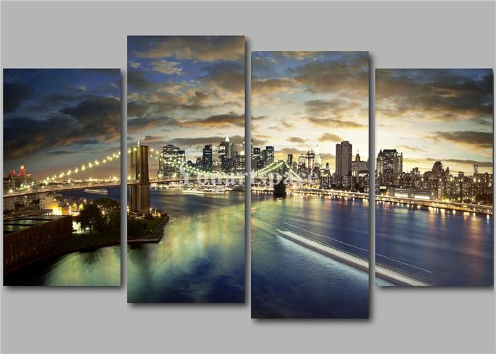 quadro su parete marrone olio su tela : ... marrone Ponte di Brooklyn NY limmagine su tela pittura ad olio per la